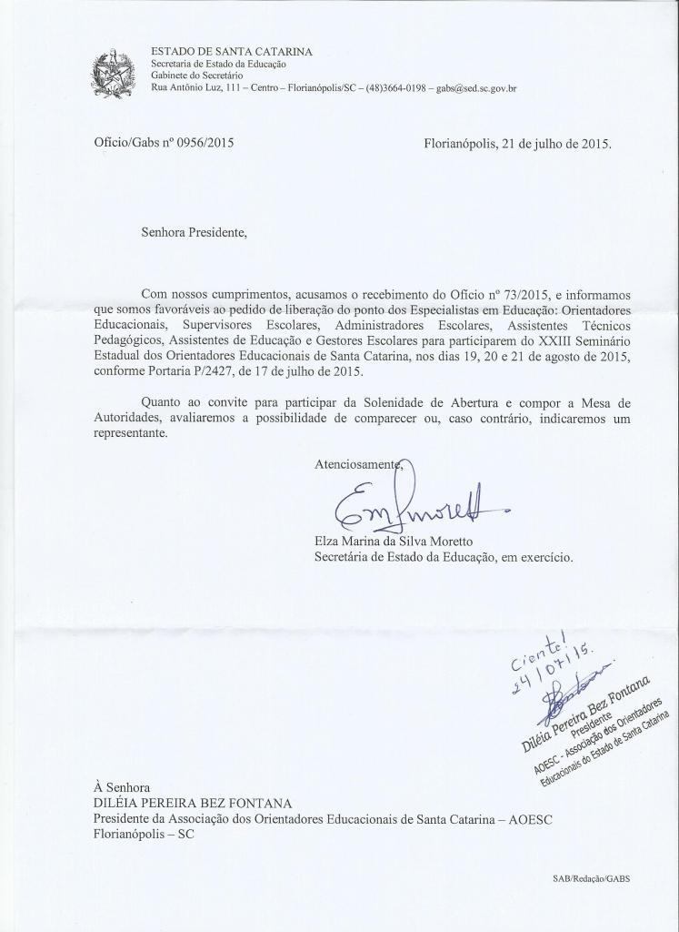 Ofício n°0956/2015 emitido pela Secretaria de Estado da Educação de Santa Catarina