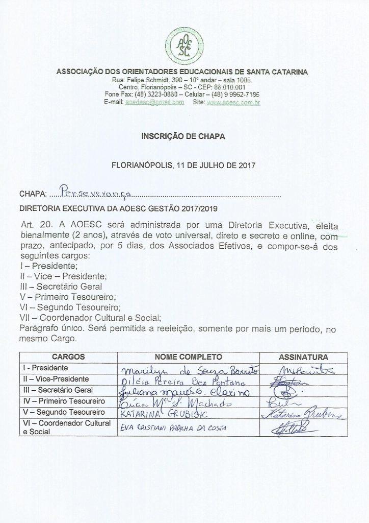 Chapa Perseverança Gestão 2017.2019