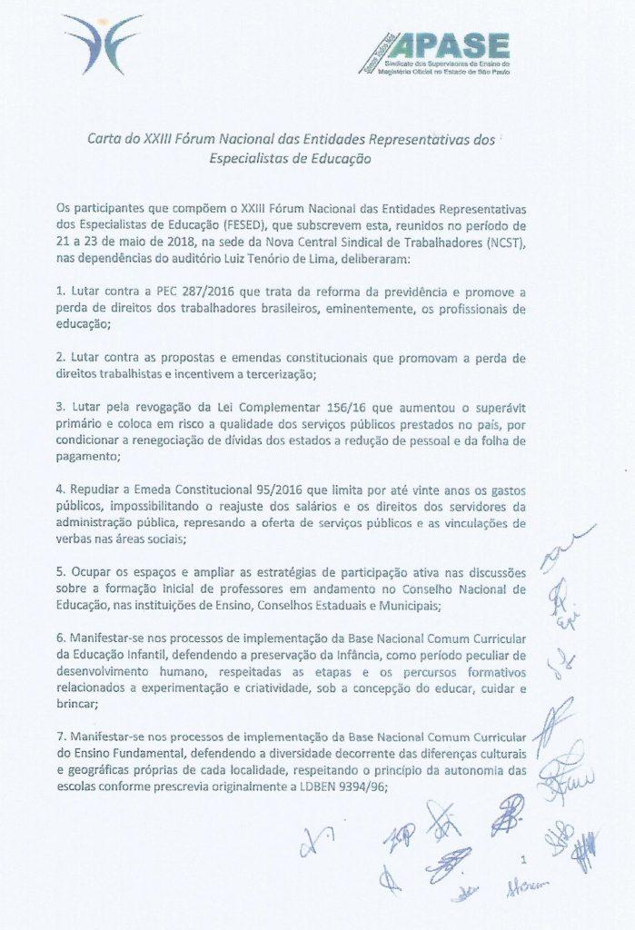 Carta do XXIII Fórum Brasília p.1 Maio 2018