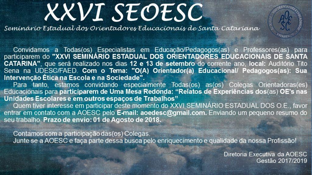 Convite XXVI Seminário e participação mesa redonda 2018