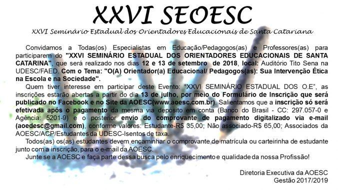 Convite XXVI Seminário 2018