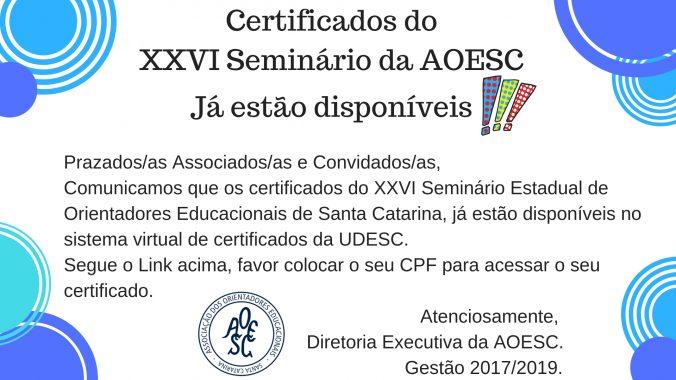 Certificados do XXVI Seminário da AOESC