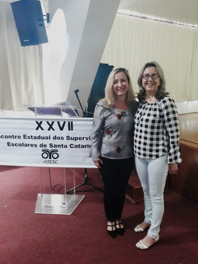 Presidente da AOESC, Sra. Diléia, com a Presidente da ASESC, Sra. Rosimeri Jorge da Silva