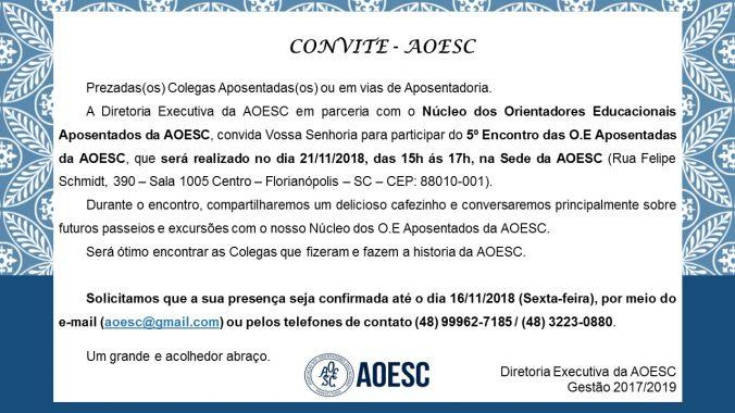 Convite 5ª encontro Nucleo das O.E Aposentadas da AOESC