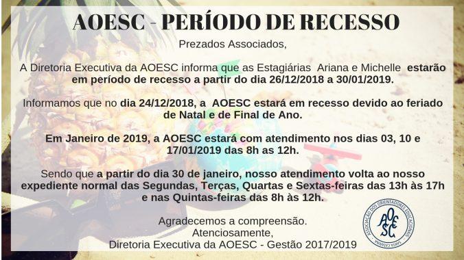 AOESC - PERÍODO DE RECESSO