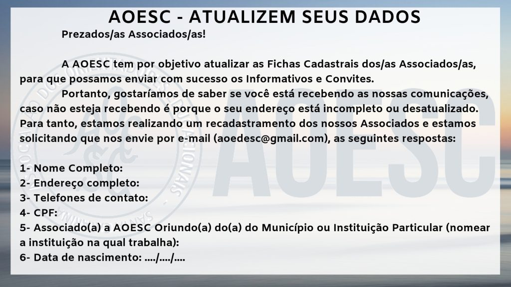 AOESC - ATUALIZEM SEUS DADOS